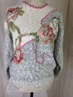 Exclusive Imports Grey Pink Sweater w/ Floral Appliques & Pearls Medium #ExclusiveImports #Roundneckpullover