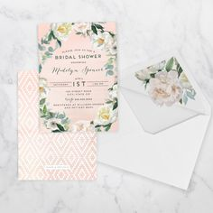 Watercolor Boho Bridal Shower or Baby Shower Invitation
