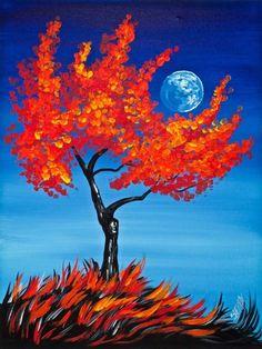 Orange Lonely Tree On Blue Background