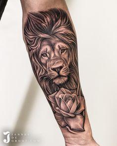 Realistic Lion & Rose Tattoo Jannes de Groot Tattoo Lion And Rose Tattoo, Photo And Video, Portrait, Tattoos, Instagram, Tatuajes, Headshot Photography, Tattoo, Portrait Paintings