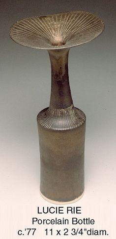 Lucie Rie.  Porcelain Bottle. Circa 1977.