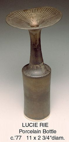 Lucie Rie.  Porcelain Bottle. Circa 1977.