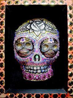 Dia De Los Muertos Sugar Skull PRINT 241 Reproduction from Sculpture, lizzy fink