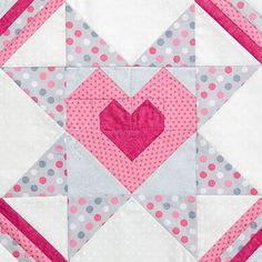 Starry Heart quilt block pattern  by Elizabeth Balderrama and Kate Colleran for Quiltmaker's 100 Blocks Volume 10.