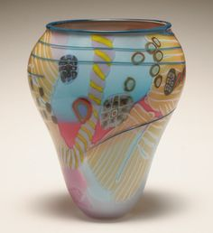 Wes Hunting American Studio art glass vase with scattered millefiori canes.