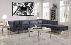 551371 6 pc Latitude run cassandra grey velvet fabric mid century modern modular sectional sofa with metal legs Loveseat Living Room, Furniture, Living Room Sofa, Living Room Sets Furniture, Home Decor, Living Room Sectional, Modular Sectional Sofa, Furniture Sets, Furniture Design