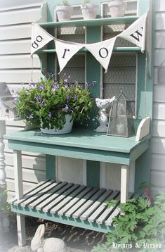 Potting bench made from an old door