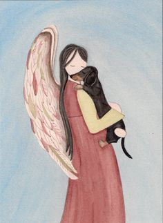 Black shorthaired dachshund with Angel (profile) / Lynch signed folk art print (Weiner / Wiener Doxie) by watercolorqueen on Etsy