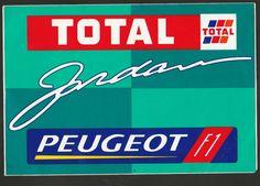 1995 TOTAL JORDAN PEUGEOT F1 TEAM 195 BARRICHELLO EDDIE ORIGINAL STICKER ADESIVO Racing Stickers, Sports Teams, Peugeot, F1, Race Cars, Decals, Logos, Ebay, Formula 1