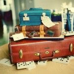 Organizational random color/size luggage to keep organized and yet still be decoration!