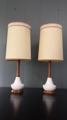 PAIR of 1960's Mid Century Danish Modern White Ceramic and Teak Lamp