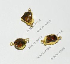 Shining_Gem 5Pc Wholesale Lot Natural Cognac Quartz Brass Pendant Jewelry Charms