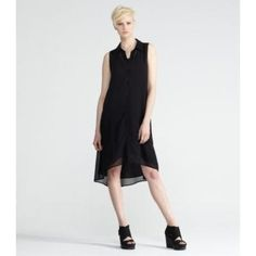 Eileen Fisher Classic Collar Knee-Length Dress With Slip in Sheer Silk Georgette M Black