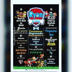Patrulha Canina pro Ryan comemorar seus cinco aninhos #patrulhacanina #chalkboard #chalkboardpatrulhacanina #cincoanos #festa #decoração #crisartesdechalkboard