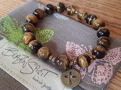 Stacking Bracelet Semi-precious Tiger Eye 7 Inch by BlazonSpirit Stretch Bracelets, Beaded Bracelets, Spirit, Bohemian, Eye, Handmade, Stuff To Buy, Jewelry, Women