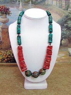 Spiney Oyster Jade & Turquoise Necklace. S2 by daksdesigns