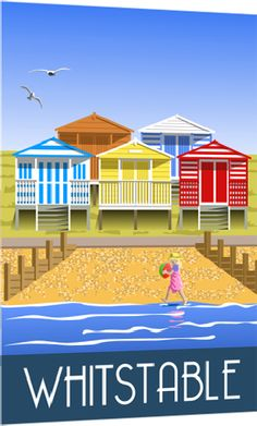 The closest I'll ever get to owning a colourful Whitstable beach hut! Posters Uk, Beach Posters, Railway Posters, Poster Prints, Graphic Posters, School Posters, Whitstable Beach, Whitstable Kent, British Travel