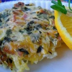 Wake-Up Casserole - Canadian Bacon - Lighter on fat and calories. Hash browns tops with canadian bacon, cheese and eggs. Breakfast Dishes, Breakfast Time, Breakfast Casserole, Breakfast Recipes, Brunch Recipes, Breakfast Ideas, Breakfast Muffins, Quiche Recipes, Bacon Recipes
