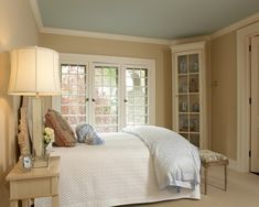 "benjamin moore palladian blue ceiling - one of designers pick for closest to southern porches ""haint blue"". Blue gray green"