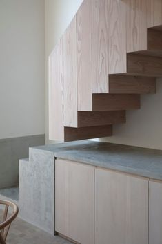 Beautiful stairs (mix of wood and concrete) House Stairs Beautiful Concrete mix Stairs Trap Wood Concrete Stairs, Wood Stairs, House Stairs, Basement Stairs, Painted Stairs, Stairs Kitchen, Garden Stairs, Concrete Wood, Kitchen Cabinets