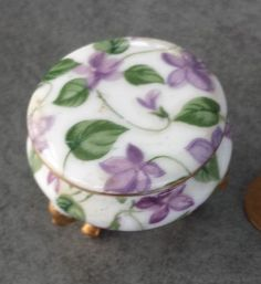 estates auction Limoges style round porcelain violet and gold box