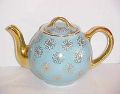 Rare HALL CHINA Daisy Flower BLUE TURQUOISE FRENCH TEAPOT 6 Cup GOLD LABEL 045GL