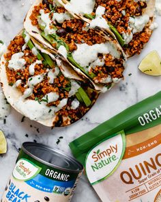quinoa & black bean tacos (with cilantro lime crema!) - meet your new favorite vegetarian quinoa & black bean tacos recipe! vegetarian (vegan-friendly), 30 minutes, and made with pantry staples! Veggie Tacos, Vegetarian Tacos, Tasty Vegetarian Recipes, Quinoa Tacos, Tofu Recipes, Bean Recipes, Quick Recipes, Healthy Recipes, Vegetarian Recipes