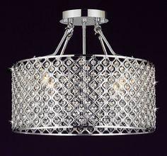 Modern Chrome / Crystal 4-light Round Ceiling Chandelier Chandeliers Lighting - - Amazon.com