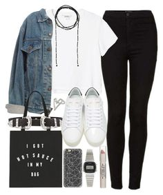 """Outfit for college with sneakers and a denim jacket"" by ferned on Polyvore featuring Topshop, Monki, Levi's, B-Low the Belt, Yves Saint Laurent, Casetify, Casio and Forever 21"