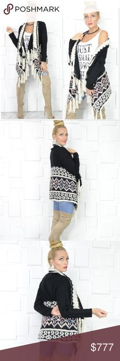PLAYFUL PRINT FRINGED CARDIGAN Brand new Boutique item  This warm and cozy fuzzy knit cardigan is a MUST HAVE for the season! Check out that fun fringe and multi colored playful print!! I am loving this fabulous cardigan!! . Sweaters Cardigans