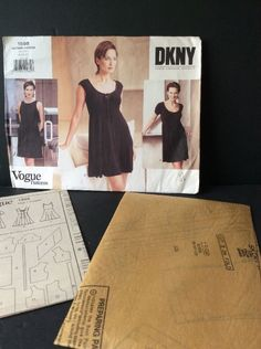 Vogue Sewing Pattern DKNY 1598 Dress Easy Pullover 8 10 12 Uncut Mid Knee A Line #VoguePatterns