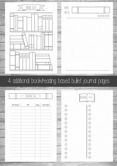 Book/Reading Bullet Journal Extra Pages --------------------------------------------------------   Please note this is a digital listing and is for extra bullet journal pages. The Basic Bullet journal can be purchased here:  https://www.etsy.com/uk/listing/271382845/printable-bullet-journal-pages-a5-us  This download contains a 4 pages PDF: 1. Bookshelf Reading List 2. To-read list 3. Book notes/review page 4. Reading log  This download allows you to ke...
