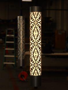 Light Column | Wraps around existing architecture | Custom Lasercut Pattern | iWorks