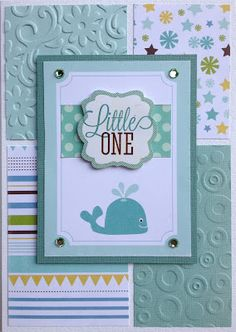 Easy card with matted design on alternating embossed and patterned paper background.