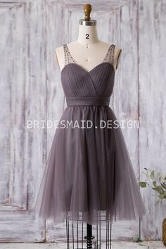 Ruched Brown Tulle with Beaded Sheer Strap Short Casual Bridesmaid Dress Casual Bridesmaid Dresses, Best Wedding Dresses, Bridesmaids, Gowns Online, Formal Gowns, Montana, Casual Shorts, Tulle, Glamour