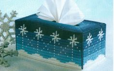 O SNOWY NIGHT TISSUE COVER CHRISTMAS PLASTIC CANVAS PATTERN INSTRUCTIONS ONLY…