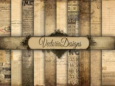 Ephemera Digital Paper 8.5 x 11 inch paper pack by VectoriaDesigns, $4.15