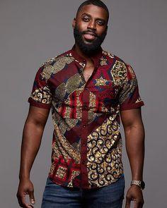 Olu short sleeve mandarin button-up african print shirt (maroon multip - d& African Shirts For Men, African Dresses Men, African Wear, African Attire, African Style, African Women, African Print Shirt, African Clothing For Men, African Inspired Fashion