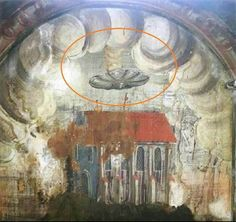 A strange disc pouring smoke and hovering over buildings has been found on a 14th century monastery wall painting in Sighisoara. Researchers claim it is just one of many