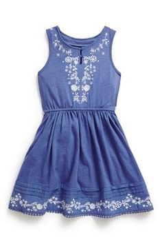 Buy Blue Embroidered Folk Dress (3-16yrs) from the Next UK online shop