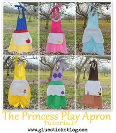 Free Costume Pattern: Princess Aprons I saved the best for the last.With this free Princess Play Apron Sewing Pattern from Gluesticks, you could sew up any princess costume in a jiffy. So very clever! At Sew Pretty Sew Free, we bring you free sewing. Disney Diy, Disney Crafts, Sewing Patterns Free, Free Sewing, Free Pattern, Apron Patterns, Pattern Sewing, Disney Princess Aprons, Disney Aprons