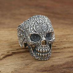 Men's Sterling Silver Embossed Skull Ring