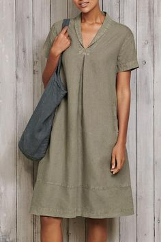 Paneled Solid Lapel Side Pockets Casual Midi Dress - Style Casual,Daytime Pattern Solid Detail Paneled,Side pockets Collar Lapel Sleeves Type Short sleeves Length Midi Material Polyester Season Summer Occasion Going out,Daily life Source by friwohl - Linen Dresses, Casual Dresses, Fashion Dresses, Mode Outfits, Chic Outfits, Woman Outfits, Maxi Dress With Sleeves, Short Sleeve Dresses, Short Sleeves