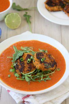 Sweet Potato Cakes with Spicy Coconut Tomato Sauce | http://thekitchenpaper.com/sweet-potato-cakes-with-spicy-coconut-tomato-sauce/