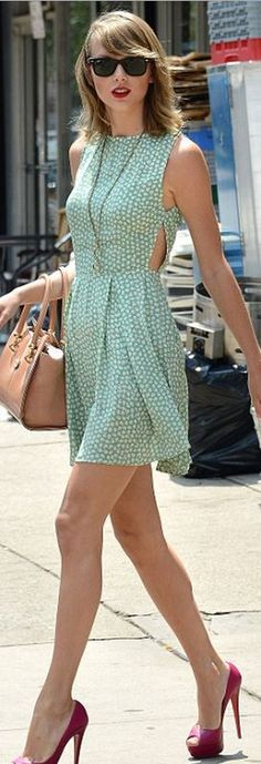 Who made Taylor Swift's black sunglasses, green print dress, gold jewelry, tan handbag, and pink platform pumps that she wore in New York