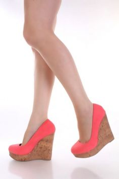 Salmon Faux Suede Closed Toe Platform Cork Wedge Heels