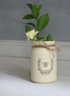Painted Recycled Glass Jar Vase Spring Home by Foundintheloft, £5.00