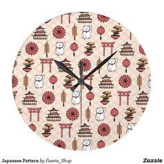 Japanese Pattern Large Clock #faerieshop #asian #pattern #japanese #chinese #cat #luck #coins #bonsai #lantern #oriental #art #maneki #neko #torii #culture #gates #present #gift #idea #sale #accessories #shopping #zazzle