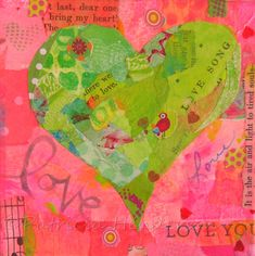 """LOVE Original Green and Pink Tiny Heart Paper Collage 4"""" X 4"""" X 1.5"""" on canvas Your Paintings, Beautiful Paintings, Watercolor And Ink, Watercolor Paintings, Painted Paper, Hand Painted, Apple Painting, Paper Collage Art"""