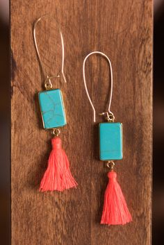 """""""Taking Shape Earrings, Turquoise""""These unique earrings are too cute! We love the combination of bold colors! Plus, anything with tassels is always a plus!! #newarrival #shopthemint"""